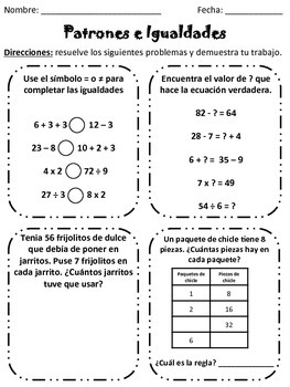Patterns and Equalities (English and Spanish)