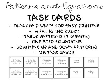Patterns and Equations Task Cards