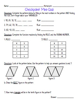 Patterns and Functions Algebra Unit Packet