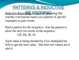 Patterns and Inductive Reasoning PowerPoint Lesson
