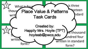 Patterns and Place Value Task Cards