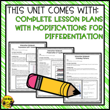 Patterns and Relations Interactive Notebook Grades 5-6