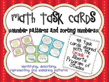 Patterns and Relations Task Cards - Alberta PoS Aligned