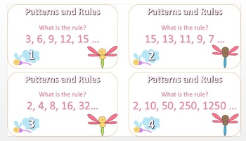 Patterns and Rules Task Card Dragonfly Theme