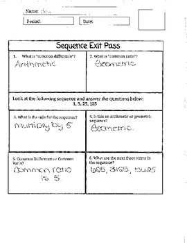 Patterns and Sequences Exit Pass