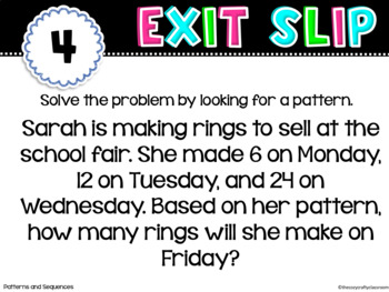 Patterns and Sequences Exit Slips