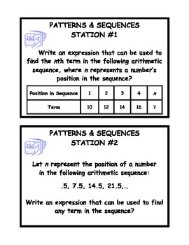 Patterns and Sequences Word Problem Station Activity