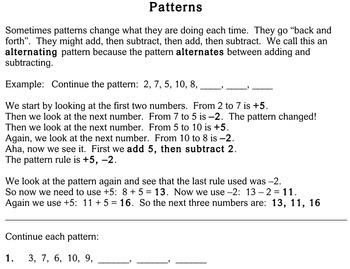 Patterns, 4th grade - worksheets - Individualized Math