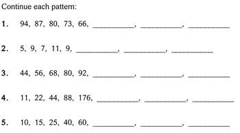 patterns 4th grade worksheets individualized math by. Black Bedroom Furniture Sets. Home Design Ideas