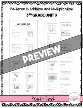 Patterns in Addition and Multiplication Test Pack *3rd Grade* {Unit 3}