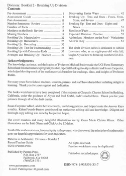 Division:  Booklet 2 Breaking Up Division Teacher Guide