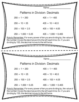 Patterns in Division: Decimals