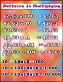 Patterns in Multiplication = Poster/Anchor Chart with Cards for Students