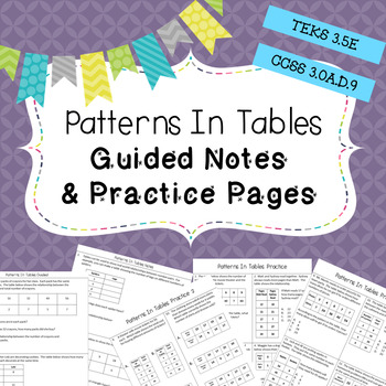 Patterns in Tables Notes & Practice