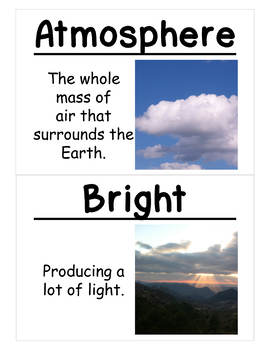 Patterns of Earth and Sky Vocabulary Cards (Large)