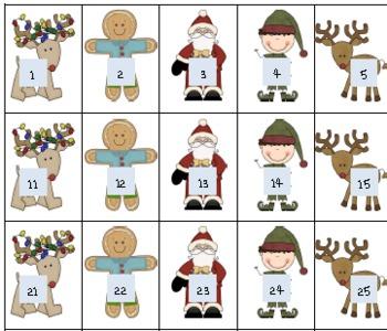 Patterns on a hundreds chart Christmas Theme Ho Ho Hundreds