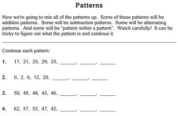 Patterns, third grade - Individualized Math - worksheets