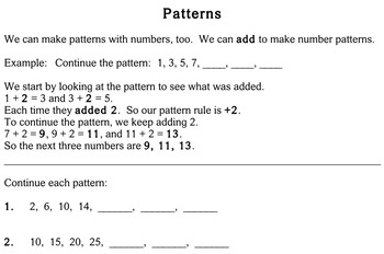 Patterns, 3rd grade - worksheets - Individualized Math -