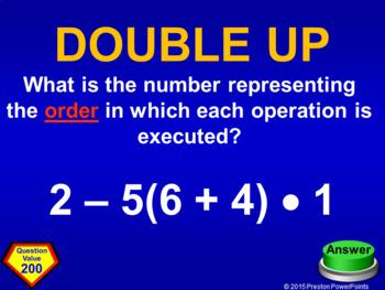 Quiz Show Game Patterns to Algebra in a PowerPoint Presentation