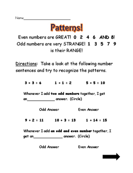 Patterns with Adding Odd and Even Numbers