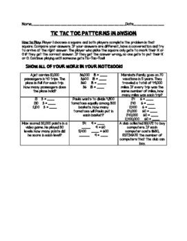 Patterns with Division Tic Tac Toe