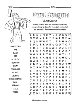 Paul Bunyan Activity - Paul Bunyan Word Search