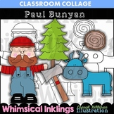 Paul Bunyan Clip Art C Seslar Color and Line Drawings