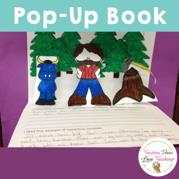 Paul Bunyan Reading Lesson on Hyperbole and Pop up Book