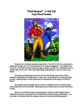 Paul Bunyan Mp3 and Easy Reading Text