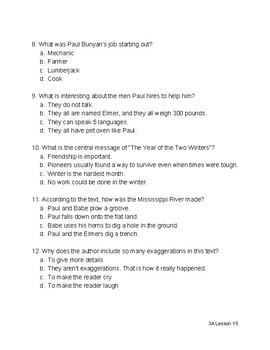Paul Bunyan Quiz - Ready Gen 3rd Grade Unit 3 Module A