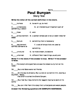Paul Bunyan Story Test- Scott Foresman Reading Street
