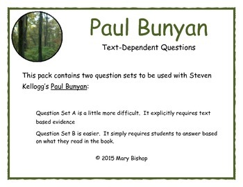 Paul Bunyan Text-Dependent Questions