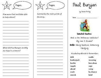 Paul Bunyan Trifold - Open Court 4th Grade Unit 6 Lesson 1