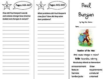 Paul Bunyan Trifold - Reading Street 4th Grade Unit 3 Week 5