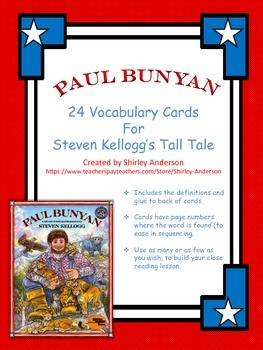 Paul Bunyan Vocabulary Cards
