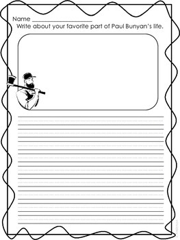 Paul Bunyan Writing Paper Freebie