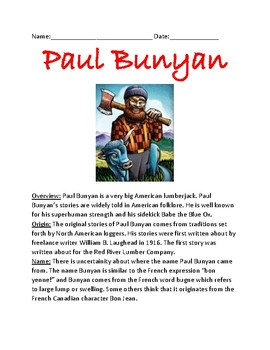 Paul Bunyan - review article facts information review questions