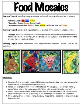 Paul Cezanne Inspired Recycled Paint Chip Mosaics, Art Common Core