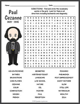 Paul Cezanne Word Search Worksheet