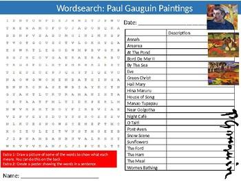 Paul Gauguin Paintings Wordsearch Puzzle Sheet Keywords Art Artist