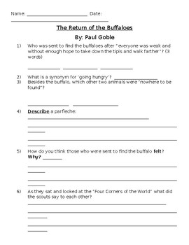 Paul Goble Return of the Buffaloes Activities