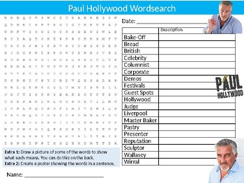 Paul Hollywood Wordsearch Sheet Starter Activity Keywords Cooking Chef