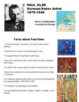 Paul Klee Fun Fact Sheet