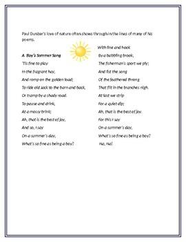 Paul Laurence Dunbar: A Boy's Summer Song