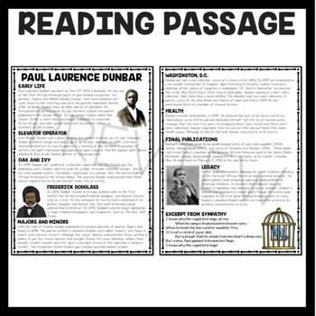 Paul Laurence Dunbar Biography Reading Comprehension, Poetry, Sympathy