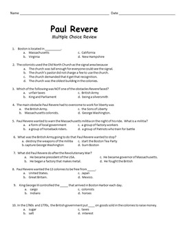 Paul Revere Activity Pack