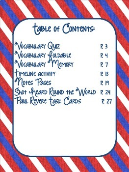 Paul Revere Activities Pack and Task Cards Bundle