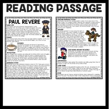 Paul Revere Biography Reading Comprehension; American Revolution