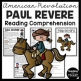 Paul Revere Biography Reading Comprehension Worksheet Revolutionary War