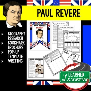 Paul Revere Biography Research, Bookmark Brochure, Pop-Up, Writing
